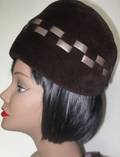 Vintage Chocolate Brown Pill Box Hat  by MISSVINTAGE5000 on Etsy