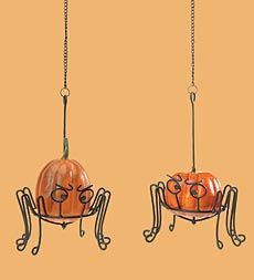 Mini Pumpkin And Gourd Holders With Spider Design, Set of 2