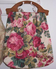 Large VINTAGE Barkcloth Era Pink ROSES
