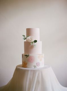 Three tier blush and floral wedding cake: http://www.stylemepretty.com/destination-weddings/2016/10/17/an-old-world-inspiration-sesh-you-need-to-see-to-believe/ Photography: Audra Wrisley - http://audrawrisley.com/