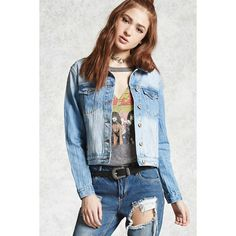 Forever21 Washed Denim Jacket ($33) ❤ liked on Polyvore featuring outerwear, jackets, medium denim, long sleeve jean jacket, blue denim jacket, long sleeve denim jacket, collar jacket and long sleeve jacket