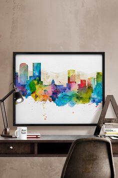 Denver, Denver print, Denver poster, Colorado, wall art, travel poster, city prints, watercolor skyline poster, home decor, iPrintPoster.