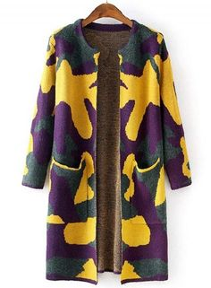 #Oasap - #oasap Fashion Long Sleeve Camouflage Open front Knit Cardigan - AdoreWe.com