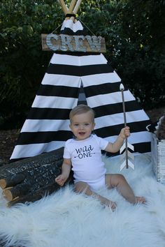 """Crew's Wild One Birthday Photoshoot! DIY TeePee, Silhouette """"Wild One"""" onsie! Outdoor photography! Boy birthday! Cacey Sanders Photography- McAlester, OK"""