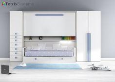 Habitación infantil con cama abatible y cama nido