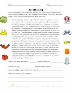 Worksheets: Paraphrasing Practice