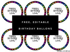 Birthday Balloons Freebie - A quick and easy way to celebrate student birthdays throughout the year!