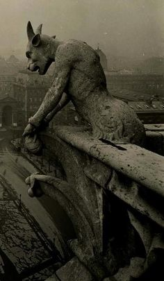 Vintage photo of famous Notre Dame gargoyle.