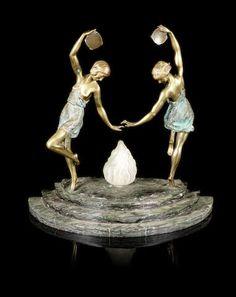 Marcel Bouraine (Matto) An Impressive Art Deco Figural Lamp with Tambourine Dancers, circa 1925