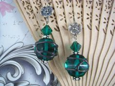 Earings, wrapped lampwork in emerald.