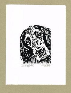 Cocker Spaniel Dog Print  Linocut Original by littleRamstudio
