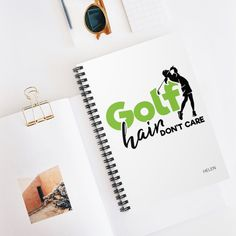 Golf Hair Don't Care, Golf Notebook, Spiral Notebook Journal, Golf Gift for Women Personalized, Golf Journal Family Gifts, Gifts For Dad, Gifts For Women, Special Birthday Gifts, Birthday Gifts For Her, Toddler Boy Gifts, Birthday Reminder, Mailing Envelopes, Golf Gifts