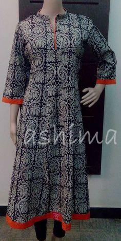 Code:2801160 Printed Cotton Anarkali Top Price INR:1950/-