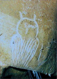 Chauvet (Francia) Arte Rupestre.  Grabado de una lechuza.