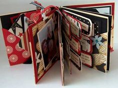combination mini album with handmade envelopes used for flags (holds wallet size photos) along with tags; cd mailers for the covers (multiple photos)
