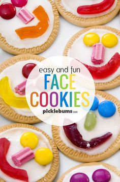 These face cookies are an easy and fun treat that the kids can make. They are a perfect party treat or to share at school for a birthday. Kids Cooking Activities, Kids Cooking Party, Cooking With Kids Easy, Preschool Cooking, Kids Cooking Recipes, Baking With Kids, Kids Meals, Healthy Cooking, Cooking Fish