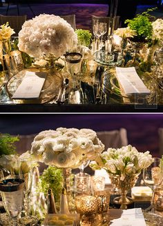 The table looks of metallics, silvers, and creams were topped with hundreds of candles, crystal candelabras, and mirror vases packed with gorgeous white and green flowers.