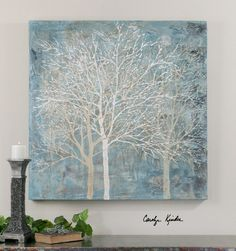 Uttermost -   Muted Silhouette   40w x 40h   20 lbs White trees on aqua canvas