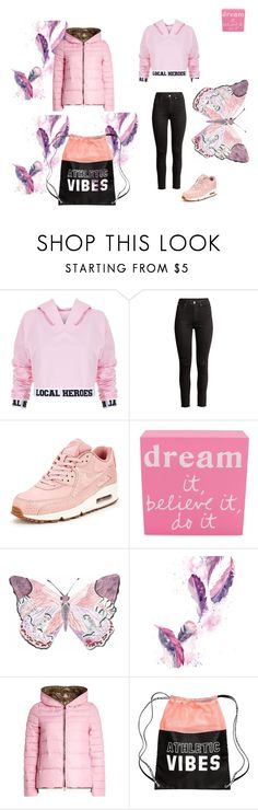 """pink"" by candy715 ❤ liked on Polyvore featuring Local Heroes, H&M, NIKE, Erica Lyons and Duvetica"