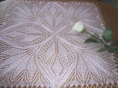 This beautiful knitted doily for home decoration is entirely handmade of cotton thread in pink color. Lace Knitting, Knitting Stitches, Knitting Designs, Knitting Projects, Knitting Patterns, Lace Doilies, Crochet Doilies, Knit Crochet, Crochet Flower Patterns