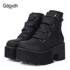 Comfortable shoes for men are your best choice for gdgydh spring autumn ankle boots women platform boots rubber sole buckle black leather pu high heels shoes woman comfortable provides the fashionable new sports shoes and classical models of womens shoes. Black Platform Boots, Leather High Heels, Black High Heels, Black Shoes, Platform Boots Outfit, High Platform Shoes, Edgy Shoes, Black Leather Ankle Boots, Leather Shoes