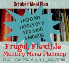 Frugal, Flexible Monthly Menu Planning from The More With Less Mom - I feed my family of 6 for $300 a month! * Tons of tips