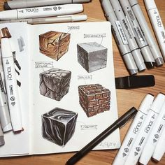 Which is your favourite material? Wood Concrete Stone Brick Metal / Steel Other // Interior Architecture Drawing, Interior Design Renderings, Architecture Sketchbook, Interior Sketch, Texture Sketch, Texture Drawing, Marker Kunst, Marker Art, Urban Design Concept