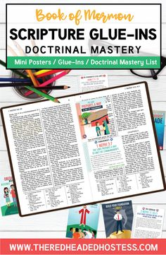 Book of Mormon Doctrinal Mastery - Scripture Glue-Ins (PDF Download) - The Red Headed Hostess Book Of Mormon Scriptures, Lds Books, Scripture Mastery, Red Headed Hostess, Lds Seminary, Doctrine And Covenants, Saints, Teaching Aids, New Testament