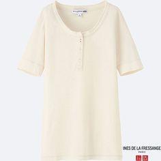 WOMEN IDLF HENLEY NECK SHORT-SLEEVE T-SHIRT, OFF WHITE $19.90