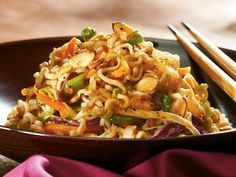 Crunchy Asian Salad   This sweet and tangy Asian-style salad gets its crunch from the ramen noodles.