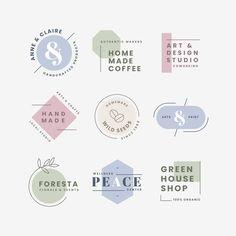 Minimal logo collection with pastel colo. Logo Branding, Branding Design, Corporate Branding, Brand Identity, Minimal Logo, Marketing Virtual, Inspiration Logo Design, Free Logo Templates, Label Templates