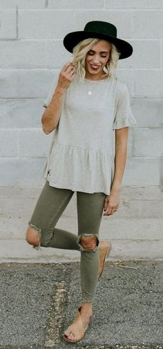 #Summer #Outfits / Grey Top + Green Ripped Skinny Pants