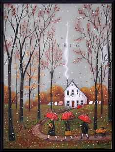 Pumpkins For Pie, a small Autumn Pumpkin Fall Leaves Red Umbrella PRINT by Deborah Gregg.Deborah Gregg Oh what an earthy day! The skies are a pewter grey accented by falling leaves and a few wet snowflakes. Autumn Art, Autumn Leaves, Graffiti Kunst, Gregg, Red Umbrella, Small Umbrella, Halloween Art, Halloween Night, Halloween Pumpkins