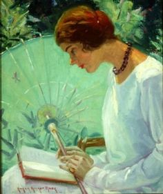 Reading in the Garden. Susan Ricker Knox (USA, Knox made her reputation by painting the children of America's richest families, but it was her studies of Ellis Island immigrants that. Reading Art, Woman Reading, I Love Reading, Reading Garden, Illustrations, Illustration Art, People Reading, Books To Read For Women, Ecole Art