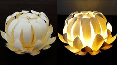 Paper cup flower lamp - how to make a protea lantern from paper cups - E...
