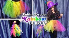 Serie DIY Falda y escoba de bruja arcoiris | DIY rainbow witch tutu and ...