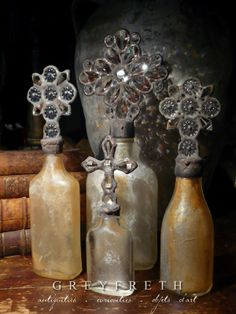 Greyfreth Cross Bottles by Isabeau Grey, copyright Isabeau Grey Inc, all rights reserved Altered Bottles, Vintage Bottles, Bottles And Jars, Glass Bottles, Perfume Bottles, Altar, Jar Art, Bottle Stoppers, Bottle Art