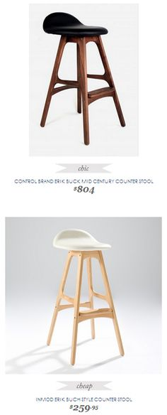 Copy Cat Chic Find | CONTROL BRAND ERIK BUCK MID CENTURY COUNTER STOOL vs INMOD ERIK BUCH STYLE COUNTER STOOL