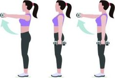 Shine bright like a diamond everyday by showing off your dumbbell exercises! Front Dumbbell Raise Front raises will work your trapezius as well as the back of your shoulders. Stand with your feet hip-width apart, holding a dumbbell in each hand by your si Tone Arms Workout, Back Fat Workout, Belly Fat Workout, Shoulder Workout At Home, Lower Back Fat, Bingo Wings, Dumbbell Workout, Dumbbell Exercises, Kettlebell Circuit
