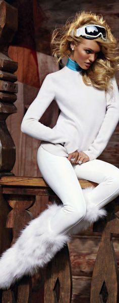"collections-from-vogue: "" Candice Swanepoel in ""Ski Bunny"" Photographed By Sebastian Faena & Styled By Carlyne Cerf de Dudzeele For V Magazine Winter 2011 "" Ski Fashion, Fashion Mode, White Fashion, Unique Fashion, Daily Fashion, Fashion Design, Lady Hear Me Tonight, Sebastian Faena, Skinny"