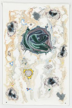Kerstin Bratsch - Unstable Talismanic Rendering 16 (with gratitude to master marbler Dirk Lange), Ink and solvent on paper (2014)