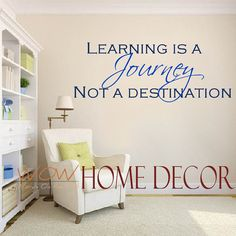 Vinyl Wall Art Decal - Learning is a Journey Inspirational Quote. School classroom quote wall decal. Learning wall decal