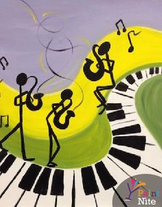 Join us for a Paint Nite event Sun Mar 2015 at 107 S. Music Painting, Music Artwork, Music Drawings, Art Drawings, Banana Art, Jazz Art, Music Decor, Arte Pop, Diy Art