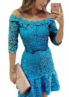 Compre vestido de renda ciganinha online   UFashionShop Shorts Casual, Modelos Plus Size, Fasion, Lace Dress, Fashion Dresses, Sleeves, How To Wear, Closet, Lace Dress Blue