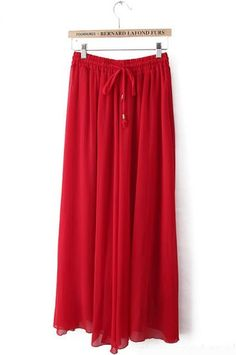 Red Drawstring Waist Pleated Chiffon Skirt pictures