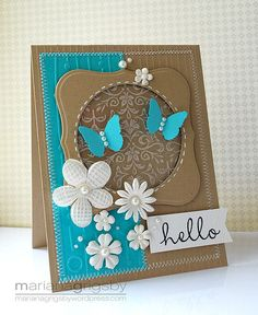 luv this color combo of bright white, turquoise and creamy chocolate . stitching faux and real. vould try this idea in scrapbook Pretty Cards, Cute Cards, Diy Cards, Your Cards, Butterfly Cards, Flower Cards, Blue Butterfly, Tarjetas Diy, Card Making Inspiration