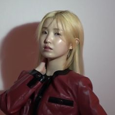 izone honda hitomi icon Red Leather, Leather Jacket, Beautiful Fairies, Yuri, Honda, Jackets, Fairy, Eyes, Creative