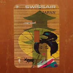 Japan  Vintage Japanese Travel Poster Light Switch Cover