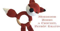 Mordedor zorrito a crochet con patrón gratuito.