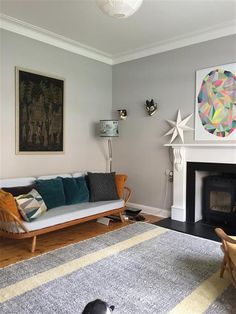 This north facing living room has been transformed and brightened with the use of Cornforth White walls, and Dimpse woodwork. This north facing living room has been transformed and brightened with the use of Cornforth White walls, and Dimpse woodwork. Living Room Flooring, Living Room Paint, Living Room Carpet, Living Room Grey, Living Room Decor, Living Rooms, Farrow Ball, Farrow And Ball Paint, Cornforth White Living Room